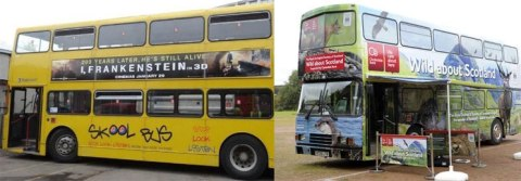 The transformational makeover of the bus donated by Stagecoach, from School bus to Wild about Scotland bus, funded by Clydesdale Bank.