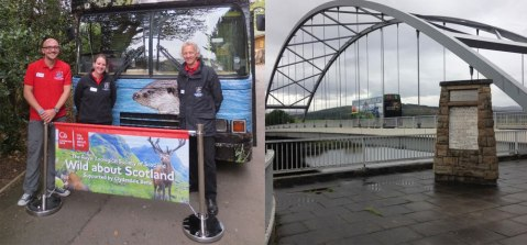Left: Our wonderful Wild about Scotland Bus team (L/R Jamie, Lyndsay and Driver Dave). Right: Wild about Scotland Bus crosses the Bonar Bridge, Sutherland.