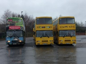 Our bus meets its sisters in Kilmarnock before a day on the road