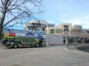 Wild about Scotland bus outside Scottish Parliament