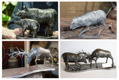 Rhino-and-stag-sculptures