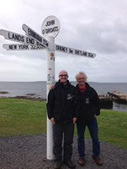 Jamie and David at John O'Groats, pondering next year's destinations…