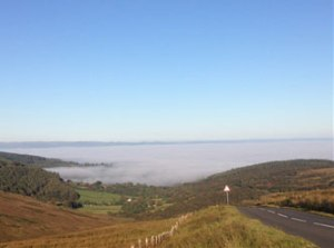 Sea fog on Arran, which caused ferries to be cancelled.