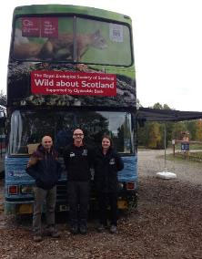 RZSS-Education-officers-Jamie-and-Lindsay-with-Costi-from-The-European-Nature-Trust-(TENT),-who-runs-a-similar-project-with-a-bus-in-Romania.---Oct-2015